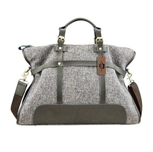 KISS GOLD(TM) Women Canvas Hobo Totes Office Handbags Crossbody Shoulder Bags Vintage, Dark Grey