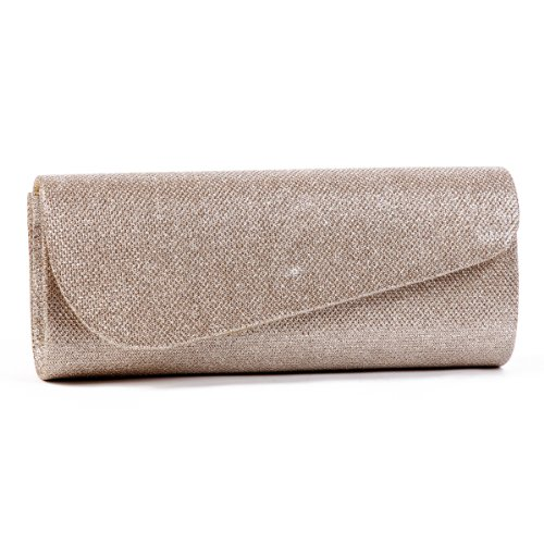 Damara Womens Oblique Flap Glitter Clutch Handbags,champagne by Damara