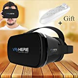 "3D VR Headset/Virtual Reality Headset, TSANGLIGHT™ VR Glasses + Remote(gift) for Smartphone iPhone 7 Plus/7/6s/6s/SE/5S Samsung S8/S7/S7 Edge/S6/A3/A5 2016/Note5 and Other 4.0""-6.0"" Cellphones"