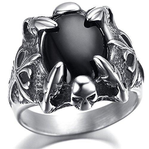 Anneau en acier inoxydable de mens, Vintage, Black Crystal, griffe kr1947