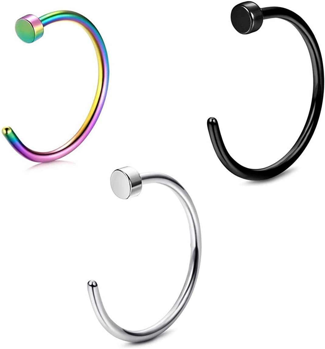 BodyJewelryOnline Nose Hoop Ring Pack of 3 Black, 18g and 20g All Lengths Available Surgical Steel and Multicolor Made of Surgical Steel