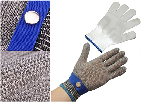 Mesh Infield Protector - 1-Set (Not a Pair) Zenith Popular New Stainless Steel Glove High Strength Wire Metal Mesh Protector Color Silver-Blue Size L