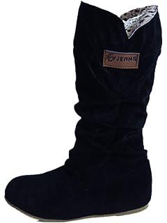 Ansenesna Stiefel Damen Schwarz Flach Gefüttert Warm Winter Schuhe  Wildleder Elegant Vintage Stiefeletten Für Frauen fe8fd6bde0