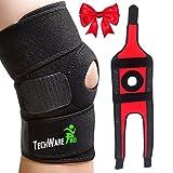 TechWare Pro Knee Brace Support - Relieves ACL, LCL, MCL, Meniscus Tear, Arthritis, Tendonitis Pain. Open Patella Dual Stabilizers Non Slip Comfort Neoprene. Adjustable Bi-Directional Straps - 3 Sizes