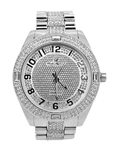 (Bling-ed Out Rich and Famous Easy Reader Dial Hip Hop Mens Watch and Matching Bling Bling ID Style Designer Link Bracelet - 8546B Silver)