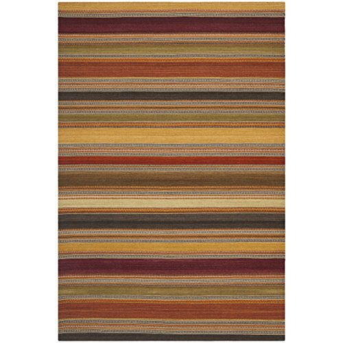 Safavieh Striped Kilim Collection STK315A Hand Woven Gold Premium Wool Area Rug (9