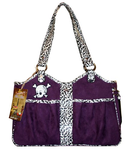 Suede Dog Carrier (Pet Flys Bon Ami Punky Skull Tote-Purple Suede with White Dalmatian trim & Skull applique)