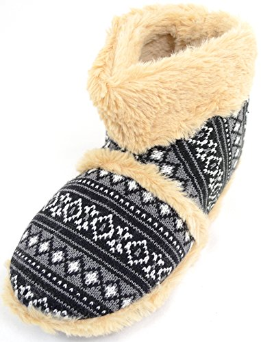 Mens Knitted Style Slipper Boots / Booties with Warm Faux Fur Lining and Cuff - Black - 11 US