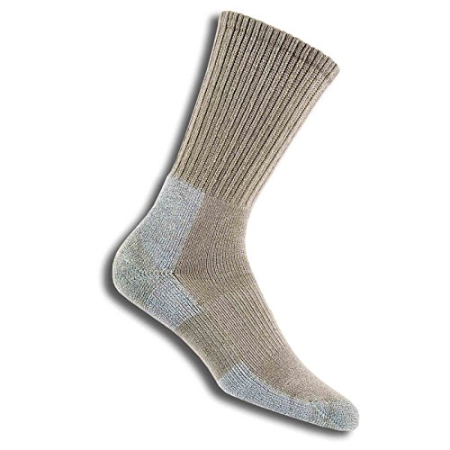 (Thorlos Men'S Moderate Cushion Trail Hiking Crew Sock Size: L, Khaki with a Helicase Sock Ring)