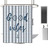 homehot Shower Curtains That are Very Fancy Good Vibes,Nautical Design with Stripes Brushstrokes Steering Wheels Anchor Icon,Baby Blue Night Blue,W55 x L84,Shower Curtain for clawfoot tub