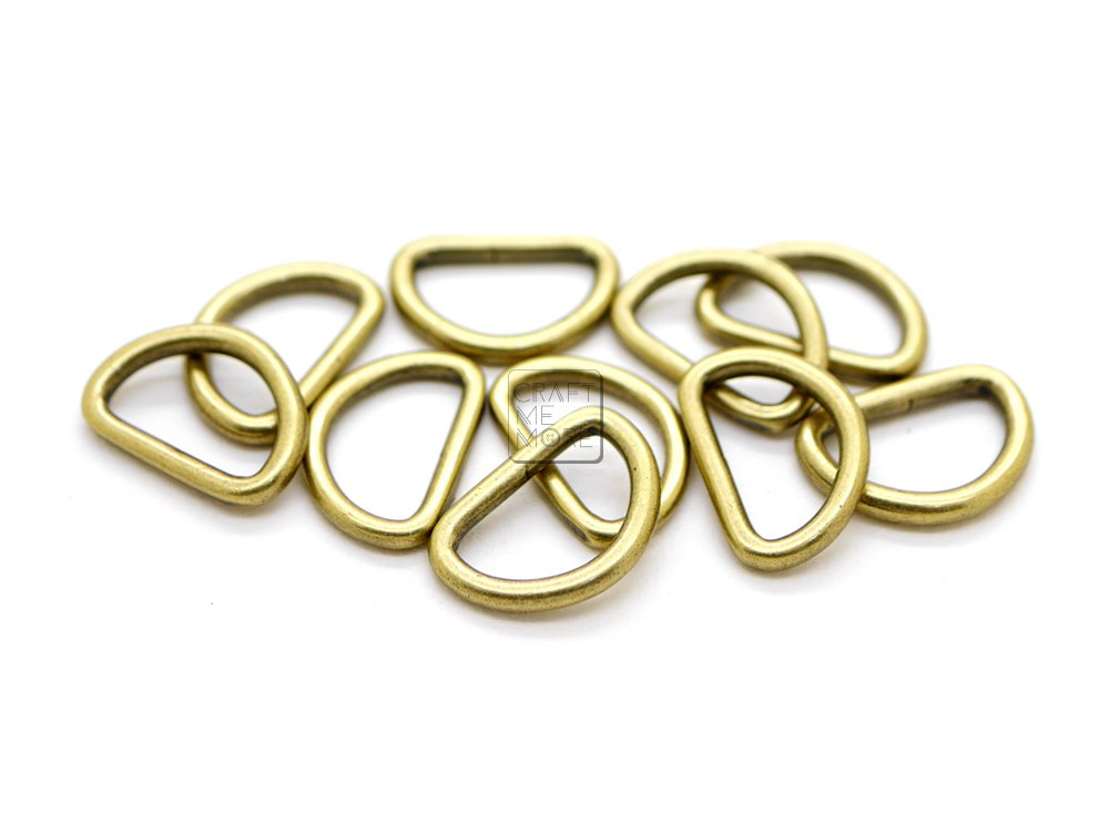 CRAFTMEmore 3/8 or 1/2 Inch Tiny D-Ring Findings Metal Welded D Rings for Zip Connector Puller Landyard Purse Making Pack of 50 (Gold, 3/8 Inch)
