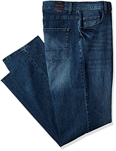 Nautica Men's Big and Tall 5 Pocket Relaxed Fit Stretch Jean, Gulf Stream wash, 44W - Big Tall And Nautica