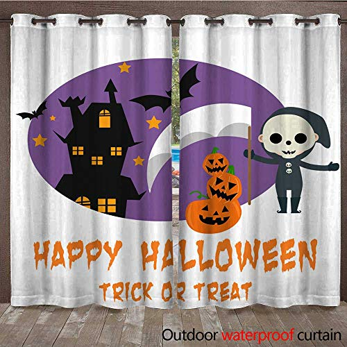 RenteriaDecor 0utdoor Curtains for Patio Waterproof Halloween Background with Lovely Costumes W72 x L108 ()