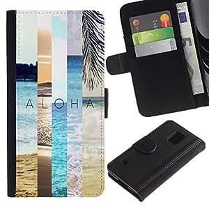 A-type (Summer Field Nature Teal Peach Sun) Colorida Impresión Funda Cuero Monedero Caja Bolsa Cubierta Caja Piel Card Slots Para Samsung Galaxy S5 V SM-G900