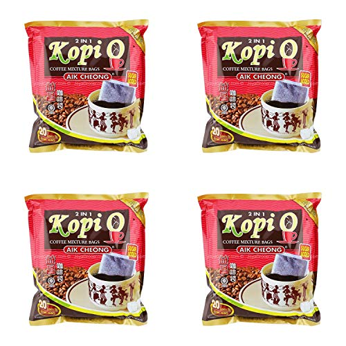 4 Pack Aik Cheong 2 in 1 Kopi O Coffee Mixture Bags Sugar Added Imported from Malaysia (4x20 Bags)