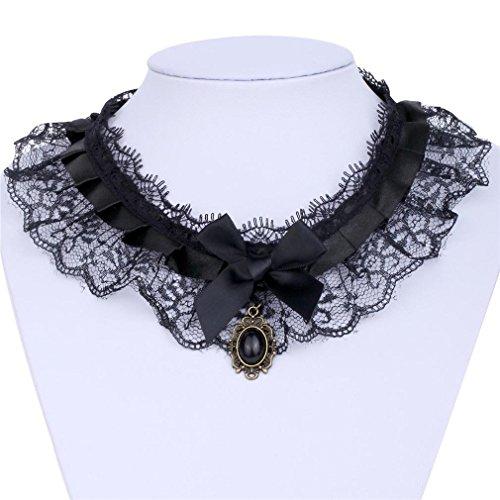 Col Yazilind dentelle bijoux Collier Noir Bow Tie Noir Pendentif main Lolita Punk retro pour femmes?