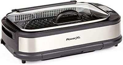 PowerXL Smokeless Grill with Tempered Glass Lid and Turbo Speed Smoke Extractor Technology. Make Tender Char-grilled Meals Inside With Virtually No Smoke (Stainless Steel Pro with Hinged Lid)