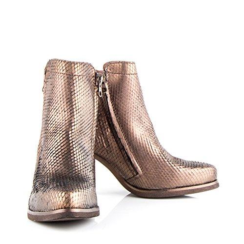 Felmini - Zapatos para Mujer - Enamorarse con Angela 9043 - Botines con Tacón - Genuine Cuero - Gold - 0 EU Size