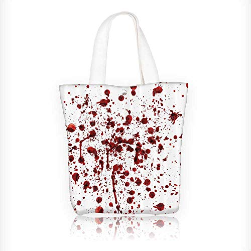 Canvas Tote Bag Splashes of Blood Grunge Style Bloodstain Horror Scary Zombie Halloween Themed Zipper Closure Grocery Shopping Bag Shoulder Bag for Women Girls Students W16.5xH14xD7 INCH