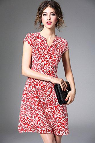 Women`s V Seta Stampato Cotiledone Elegante collo Casuale Abiti Vestito Rosso Di frfUY