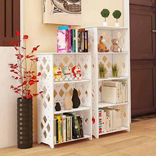 5 Shelf Storage Standard Bookcase 5-Shelf Shelving Unit,Cut-Out White Composite 5 Tier Shelving Unit Storage Shelf Rhombus Lattice Display Shelf for Shoes Books Toys Bedroom Living Room Kitchen Office