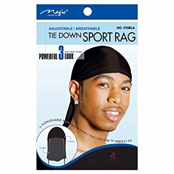 amazon com magic tie down nylon sport durag black hair cap