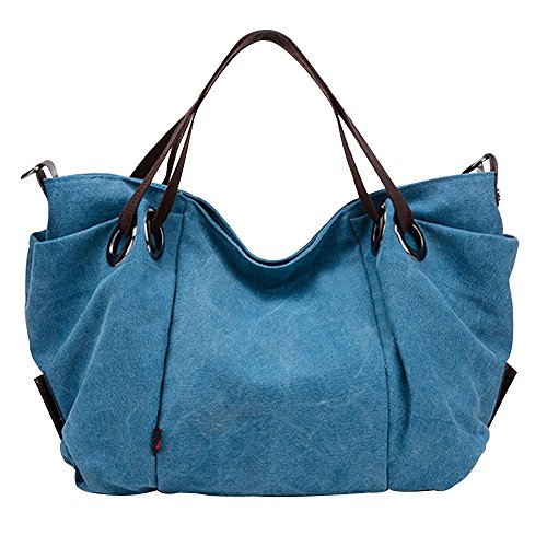 Flowertree Women's Slouchy Pleated Canvas Hobos Bag Tote Shoulder Bag (blue) by flowertree
