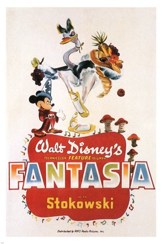 WALT DISNEY'S FANTASIA movie POSTER wild FUN cartoon 1940 ANIMATED 24X36