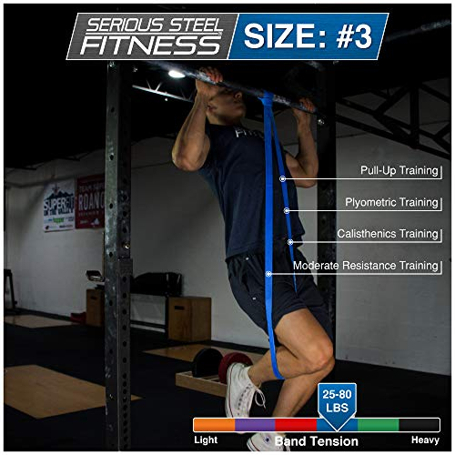 Serious Steel Fitness Blue - #3 Light Pull-Up Assist & Stretching Resistance Band (Size: 1.125W, Resistance: 20-80lbs) Pull-Up and Starter Band e-Guide INCLUDED