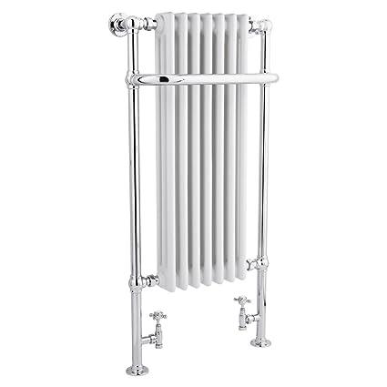 Hudson Reed - Radiador Toallero Retro para Baño Tradicional en Acero Blanco/Cromo - 1130