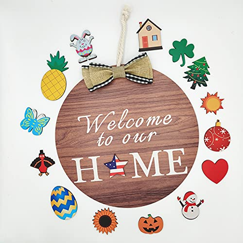 AQUAO Refitable Front Welcome Door Number Wooden Front Porch Round with Thick Rope Cloth Butterfly Decoration Sign Antique Wood Wall-Mounted Welcome Board ,15 Removable Wooden Welcome Icon Suitable for Independence Day Easter Christmas Fron