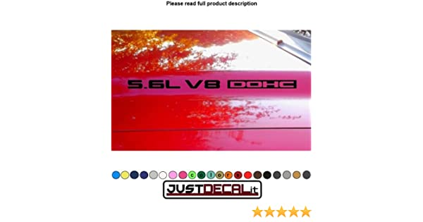 Hood decal x2 5.6L V8 DOHC text sticker
