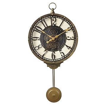 HENJH Wall Clock Reloj de Pared Decoración Retro Movimiento de Cuarzo Ultra silencioso Reloj de Pared Columpio. para Comedor, Sala, Salón y Pasillo.