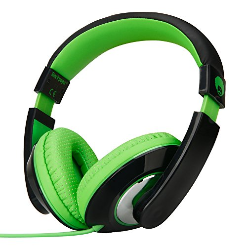 Bass Recorder Great (Rockpapa 782 DJ Style Stereo Headphones Adjustable Headband 3.5mm for Cellphones Ipod Ipad Iphone Laptop Computer Mp3/4 Tablets Earphones (Black/Green))