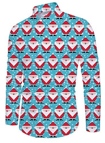 Alistyle Men's Aloha Shirt Luxury Printing 3D Pattern Long Sleeve Christmas Shirt -
