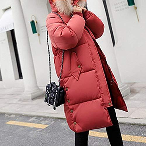 Retro Cremallera Bolsillos Cuello Botón Chaqueta De Manga Piel Abrigo Cómodo Con Pluma Rot Mujer Larga Invierno Abrigos Laterales Elegante qwxv1nH6n7