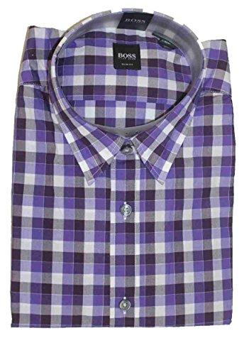 Hugo Boss Mens Ronny LS Dress Shirt X Large Slim Fit Woven Purple Checkered
