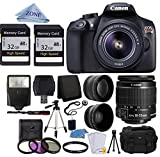 Canon EOS Rebel T6 Digital SLR Camera with 18-55mm EF-S f/3.5-5.6 IS II Lens + 58mm Wide Angle Lens + 2x Telephoto Lens + Flash + 64GB SD Memory Card + UV Filter Kit + Tripod + Full Accessory Bundle