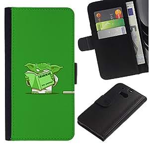 Protector de cuero de la PU de la cubierta del estilo de la carpeta del tirón BY RAYDREAMMM - HTC One M8 - Divertido Gramática Yoda