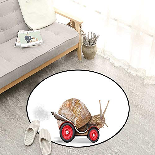 (Funny Bedroom Rugs Speedy Snail Like Car Racer on Wheels Success Ambition Goal Creativity Concept Door Floor Mat for Bedroom 3'7