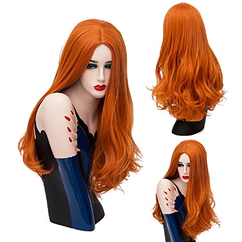 Easy To Do Celebrity Costumes (Mufly Synthetic Wigs Long Big Wavy Curly Hair Orange Color Colorful Fiber for Costume Party& Halloween Fancy Dress 26 Inches)