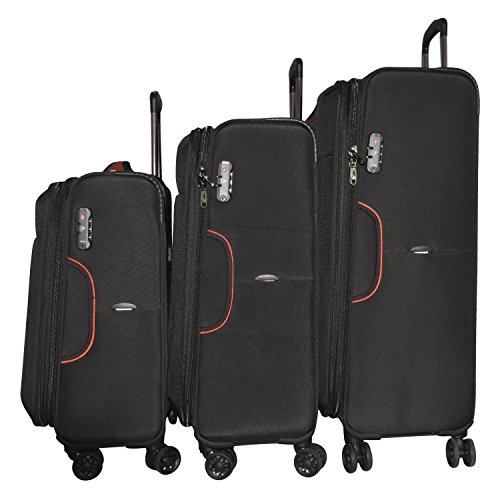 Texas USA Nylon Soft Luggage Trolley  Set of 3   texas3333blkset_Black