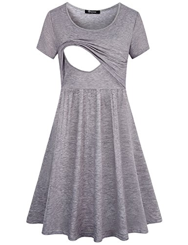 Quinee Clothes for Nursing,Womens Round Neck Short Sleeve Fashion Front Pleated Lovely Maternity Dress for Breast Feeding Casual Cotton Swing Layering Contrast Color Cute Postpartum Outfit Grey L