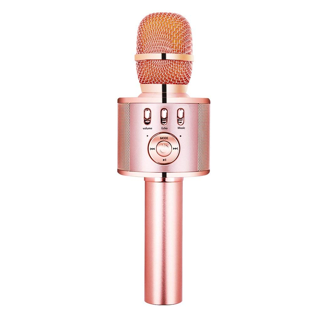 VERKB Wireless Karaoke Microphone Speaker, Portable Bluetooth Singing Machine for iPhone Android Smartphone Home Birthday Party Team Building(Rose Gold) by VERKB