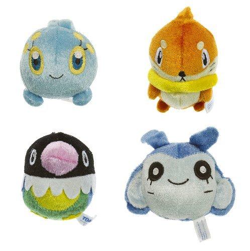 (Pokemon Manaphy, Buizel, Chatot, Mantyke AG Ranger and The Temple of The Sea Manmaru Nuigurumi Mini Plush Bundle (~2.5