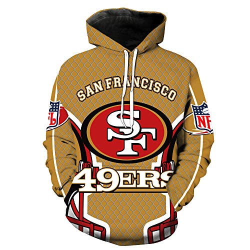 (Men's Hooded Long Sleeve 3D Digital Print San Francisco 49ERS Football Team Sports Pullover Hoodies (S,Khaki))