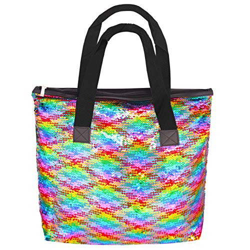 Sequin Tote Bag, Large Two Tone Reversible Sequin Handbag Mermaid Glitter Paillette Shoulder Bag Fashion Flip Sequin Bag for Women Girls Travel Daily Beach, Reversible Multicolor to Silver ()
