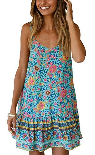 (BTFBM Women Casual Spaghetti Straps Sleeveless Loose Fit Boho Floral Pleated Hem Sundress Summer Beach Short Dress (127 Light Green, Small))