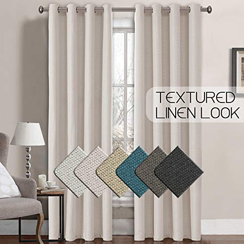 7fb7e67f5ed9f H.Versailtex Classical Grommet Top Room Darkening Thermal Insulated Heavy  Weight Textured Tiny Plaid Linen Like Innovated Living Room Curtains,52 by  ...