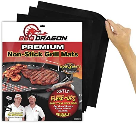 BBQ Dragon Grill Mats Set of 3 – Black, Heavy Duty Large Reusable, Grill Pans Non Stick, Charcoal BBQ, Barbecue Grilling and Baking Accessories for Grilling, Easy Clean
